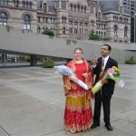 Couple getting married at city hall