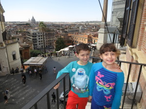 Atop Spanish Steps from balcony at Hotel Hassler