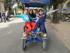 Bicycle for 4 in Villa Borghese Park, Rome