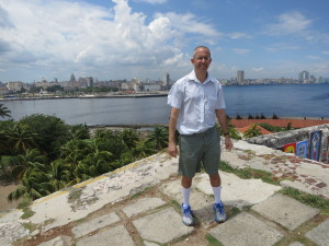 Across the bay with central Havana on the other side. Just behind me is a 100 foot drop with no railing.