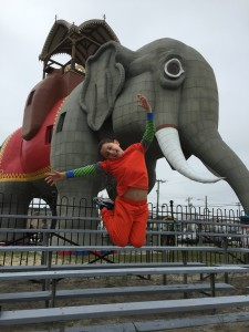 Jumping for joy at Lucy the Elephant near Atlantic City, New Jersey.