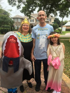 In our Purim costumes for Papa's 80th Birthday party